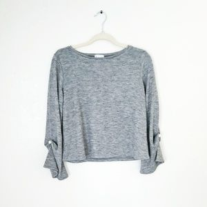 Leith Grey Pearl Bell Sleeve Sweater